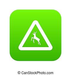 Deer traffic warning sign icon digital green