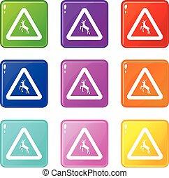 Deer traffic warning sign icons 9 set