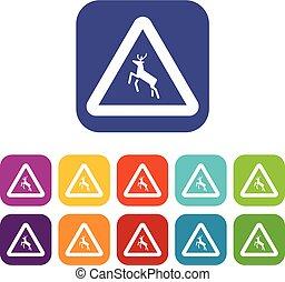 Deer traffic warning sign icons set