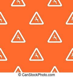 Deer traffic warning sign pattern seamless