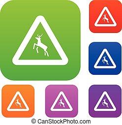Deer traffic warning sign set collection