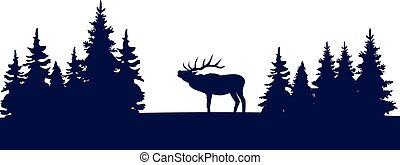 Deer Trees - vector deer and trees silhouettes