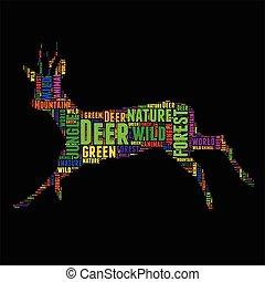 Deer Typography word cloud colorful Vector illustration