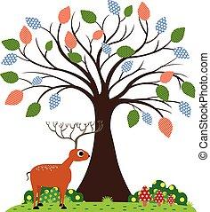 Deer under the tree