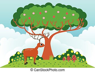 Deer under the tree in sunny