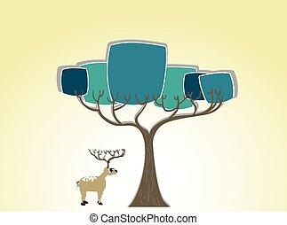 Deer under the tree silhouette