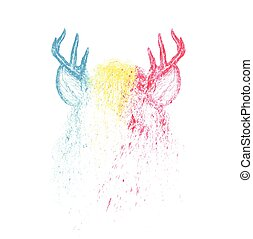 Deer vector colorful paint illustration design