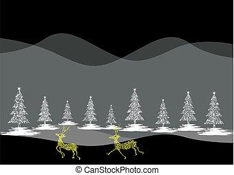 deer-, vektor, jul