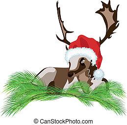 Deer wearing a Santa Claus hat