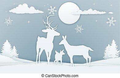 Deer Winter Scene Paper Art