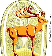 Deer with beautiful big horns.