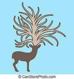 Deer with big tree on the head