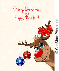 Deer with Christmas decorations, greeting card