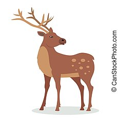 Deer with Horns Vector Illustration in Flat Design - Deer...
