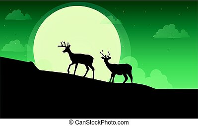 Deer with moon scenery silhouette