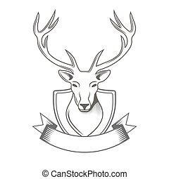Deer with ribbon logo isolated on white background for hunter club, hunting. Vector Illustration