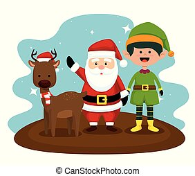 deer with santa claus and elf to christmas
