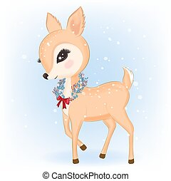 Deer with wreath Christmas in winter and Christmas illustration.