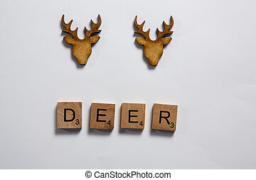 Deer words arranged in wooden blocks on white background