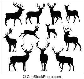 deers, black , silhouettes, grafisch, wild