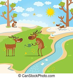 deers happy for spring, thaw in forest vectore illustration...