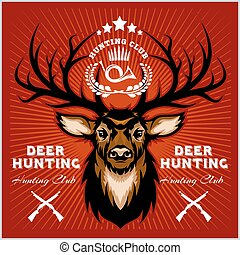 Deers Hunting club emblems set.
