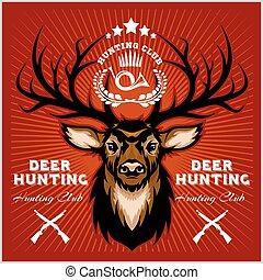 deers, jacht, club, emblems, set.