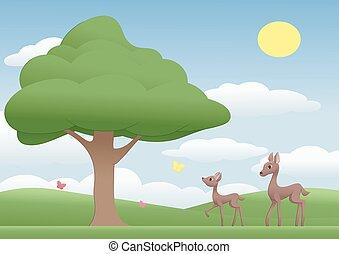 deers, ligado, um, prado