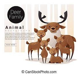deers, schattig, achtergrond, gezin, dier