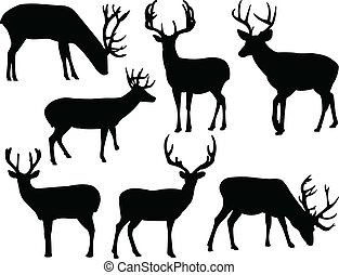 Deers silhouette collection - vector