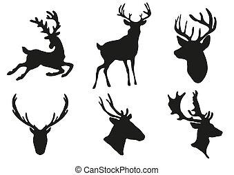 deers, silhouettes