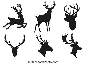 deers silhouettes - Vector illustration of collection of...