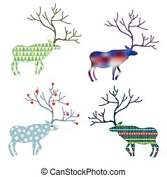 Deers with different pattern set for Christmas holidays