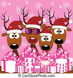 deers with red santa hat