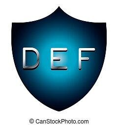 DEF alphabet font letters blue security shield symbol