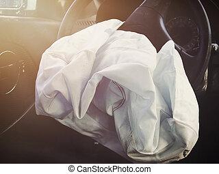 defalted, främre del, airbag, olycka, bil