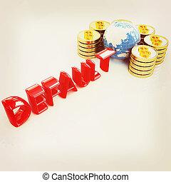 Default concept. 3D illustration. Vintage style.