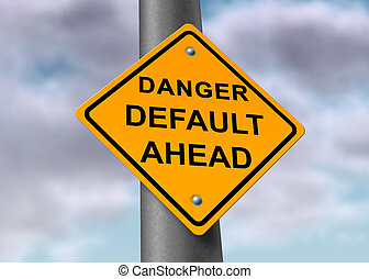 Tough time for the economy represented by a road sign that shows the strugglng economy and government debt cealing.