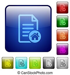 Default document icons in rounded square color glossy button set