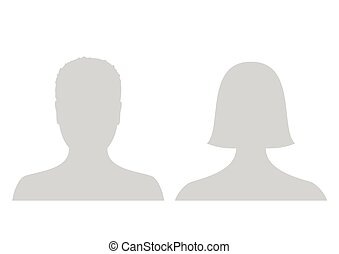 Default male and female avatar profile picture icon. Grey man and woman photo placeholder.