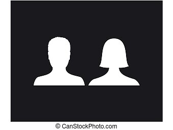 Default male and female avatar profile picture icon. Man and woman photo placeholder.