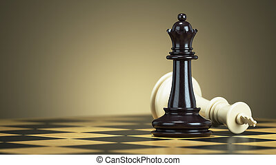 Defeat chess king from a black queen on a chessboard. 3d...