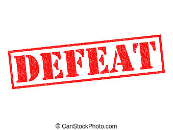 DEFEAT red Rubber Stamp over a white background.