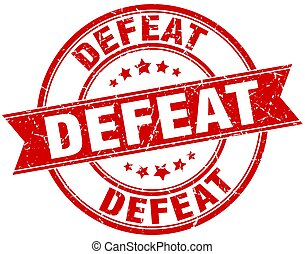 defeat round grunge ribbon stamp