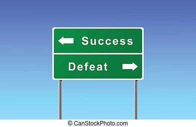 defeat., siker, aláír