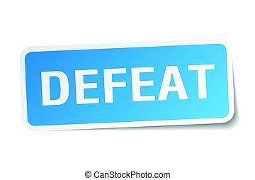 defeat square sticker on white