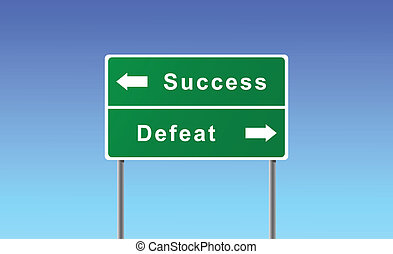 defeat., sucesso, sinal