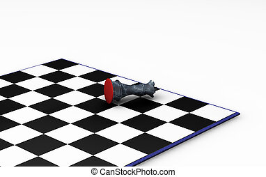 3D render of chess piece knocked over on chess board