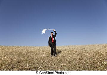 Defeated businessman - businessman asking for surrendering...