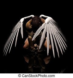 defeated - a male angel in a unique pose and expression